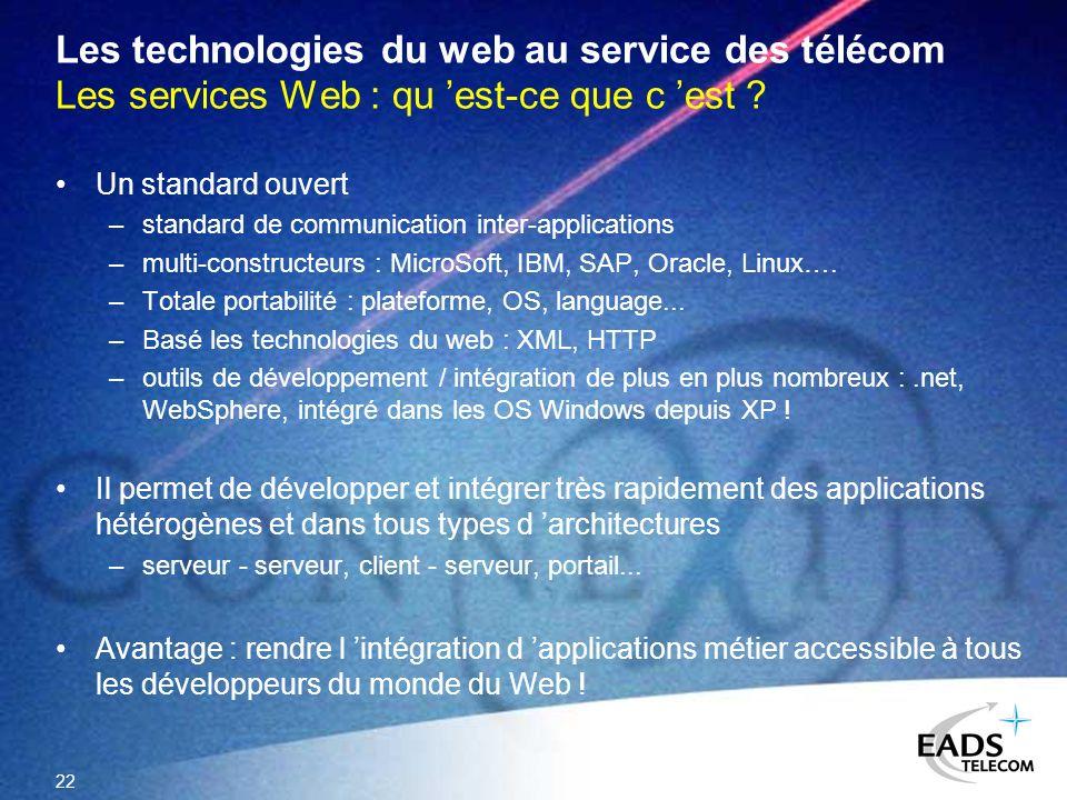 22 Les technologies du web au service des télécom Les services Web : qu est-ce que c est ? Un standard ouvert –standard de communication inter-applica