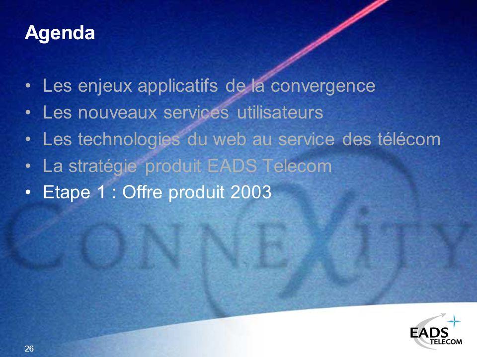 26 Agenda Les enjeux applicatifs de la convergence Les nouveaux services utilisateurs Les technologies du web au service des télécom La stratégie prod