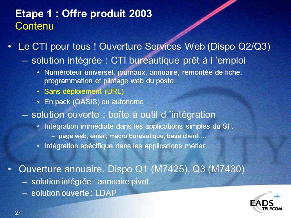 27 Etape 1 : Offre produit 2003 Contenu Le CTI pour tous ! Ouverture Services Web (Dispo Q2/Q3) –solution intégrée : CTI bureautique prêt à l emploi N