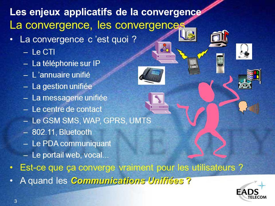 3 Les enjeux applicatifs de la convergence La convergence, les convergences La convergence c est quoi ? Est-ce que ça converge vraiment pour les utili