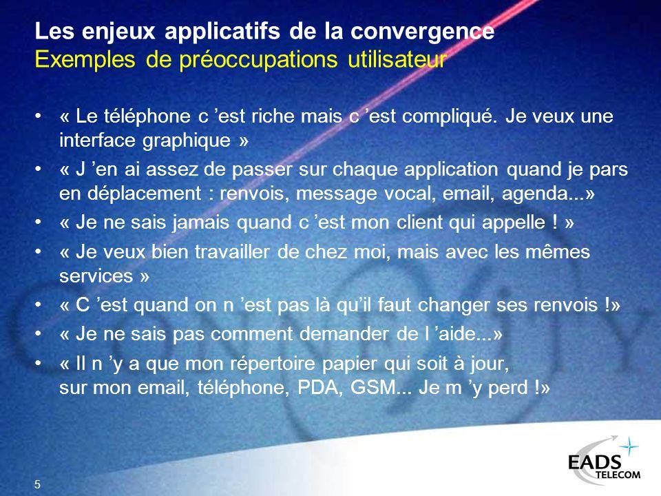 5 Les enjeux applicatifs de la convergence Exemples de préoccupations utilisateur « Le téléphone c est riche mais c est compliqué. Je veux une interfa