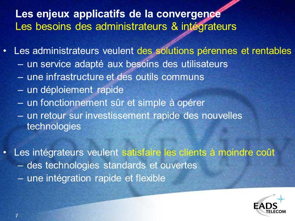 7 Les enjeux applicatifs de la convergence Les besoins des administrateurs & intégrateurs Les administrateurs veulent des solutions pérennes et rentab
