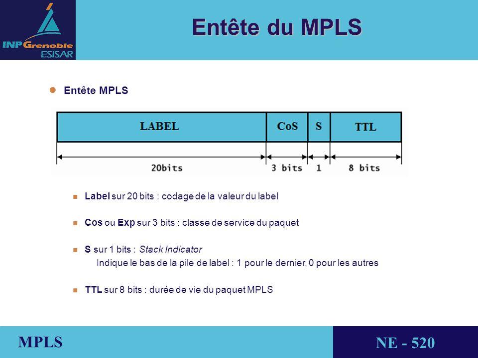 THALES AVIONICS MPLS NE - 520 Entête du MPLS l lEntête MPLS n Label sur 20 bits : codage de la valeur du label n Cos ou Exp sur 3 bits : classe de service du paquet n S sur 1 bits : Stack Indicator Indique le bas de la pile de label : 1 pour le dernier, 0 pour les autres n TTL sur 8 bits : durée de vie du paquet MPLS