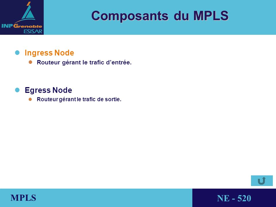 THALES AVIONICS MPLS NE - 520 Composants du MPLS l lIngress Node l lRouteur gérant le trafic dentrée.