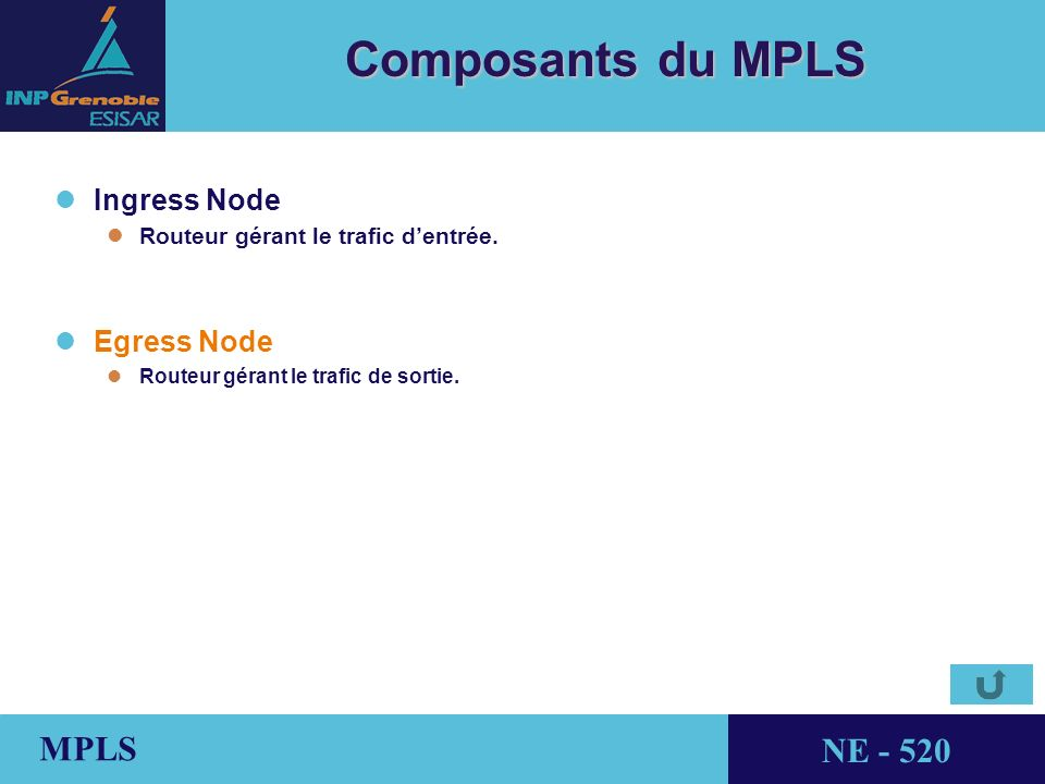 THALES AVIONICS MPLS NE - 520 Composants du MPLS lIngress Node lRouteur gérant le trafic dentrée.