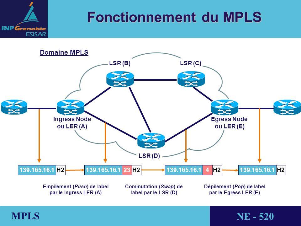 THALES AVIONICS MPLS NE - 520 Fonctionnement du MPLS Ingress Node ou LER (A) LSR (D) LSR (C)LSR (B) Egress Node ou LER (E) H2139.165.16.1 23139.165.16.1H2 Empilement (Push) de label par le Ingress LER (A) 4139.165.16.1H2 Commutation (Swap) de label par le LSR (D) H2139.165.16.1 Dépilement (Pop) de label par le Egress LER (E) Domaine MPLS