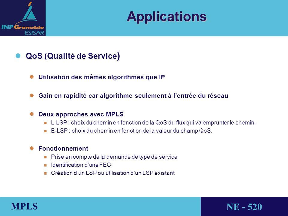 THALES AVIONICS MPLS NE - 520 Applications l lQoS (Qualité de Service ) l lUtilisation des mêmes algorithmes que IP l lGain en rapidité car algorithme seulement à lentrée du réseau lDeux approches avec MPLS n L-LSP : choix du chemin en fonction de la QoS du flux qui va emprunter le chemin.