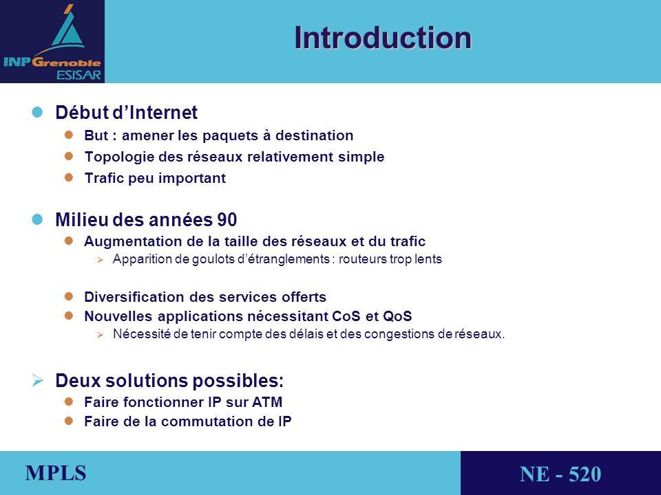 THALES AVIONICS MPLS NE - 520 Applications l lTE (Traffic Engineering) l lBut : Optimiser lutilisation des ressources réseau l lExemple : Répartition de charge par tunnel LSP lProtocoles existants : CR-LDP, RSVP-TE, OSPF-TE