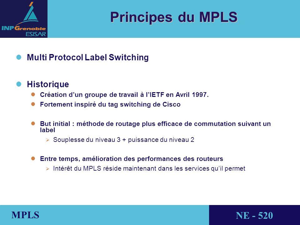 THALES AVIONICS MPLS NE - 520 Principes du MPLS l lMulti Protocol Label Switching lHistorique lCréation dun groupe de travail à lIETF en Avril 1997.