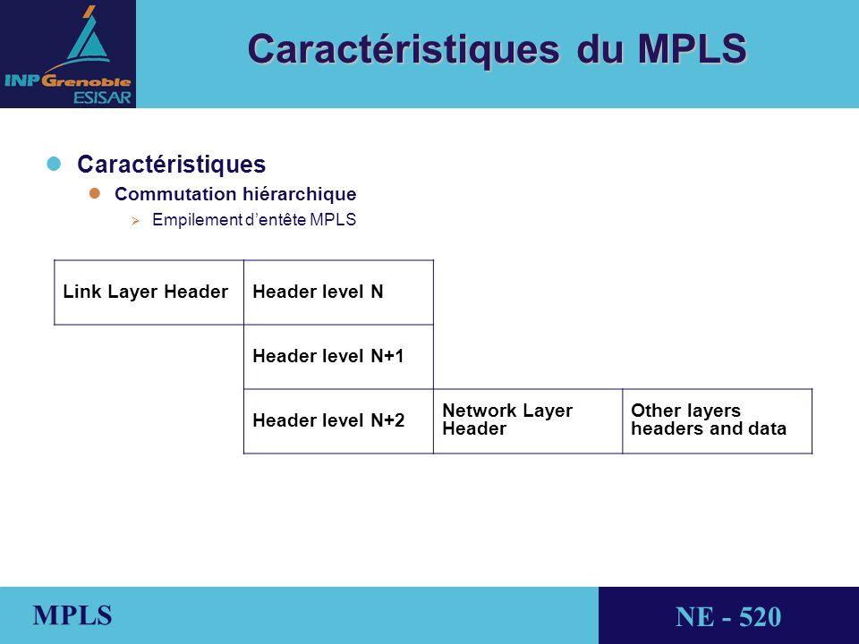 THALES AVIONICS MPLS NE - 520 Caractéristiques du MPLS l lCaractéristiques l lCommutation hiérarchique Empilement dentête MPLS Link Layer HeaderHeader level N Header level N+1 Header level N+2 Network Layer Header Other layers headers and data
