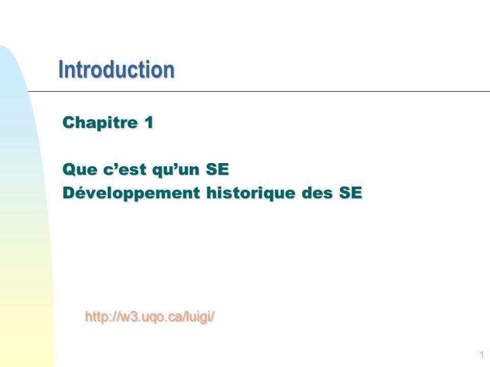 1 Introduction Chapitre 1 Que cest quun SE Développement historique des SE http://w3.uqo.ca/luigi/