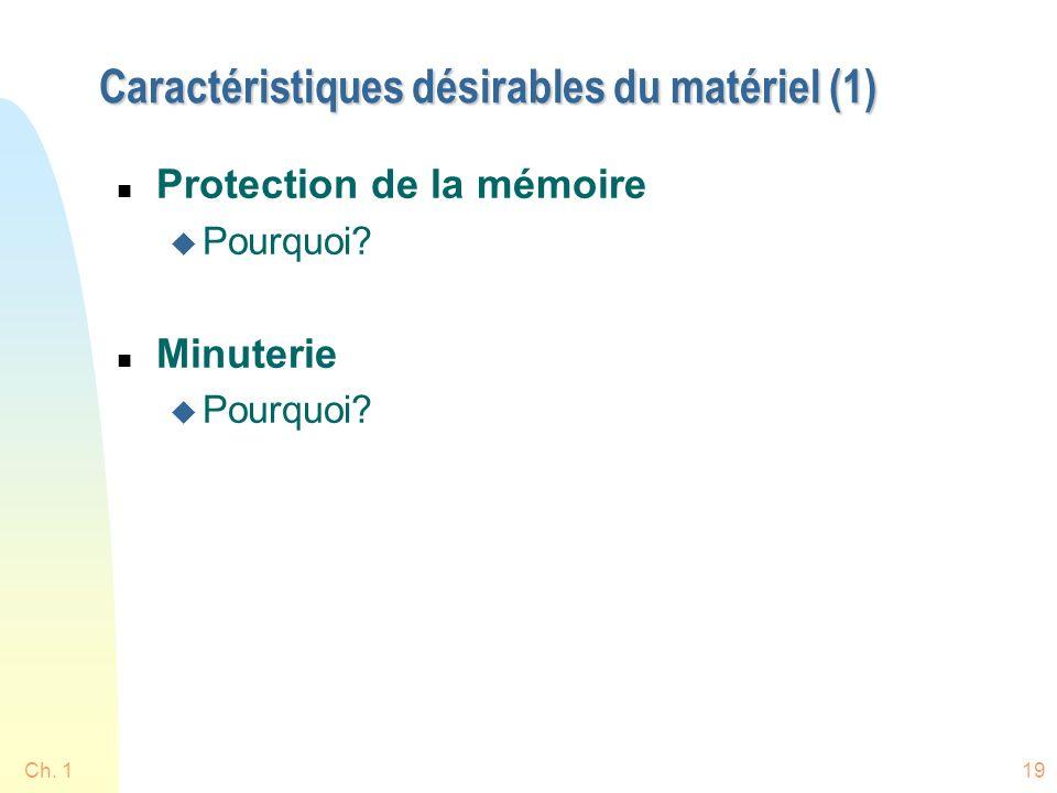 Ch. 119 Caractéristiques désirables du matériel (1) n Protection de la mémoire u Pourquoi.