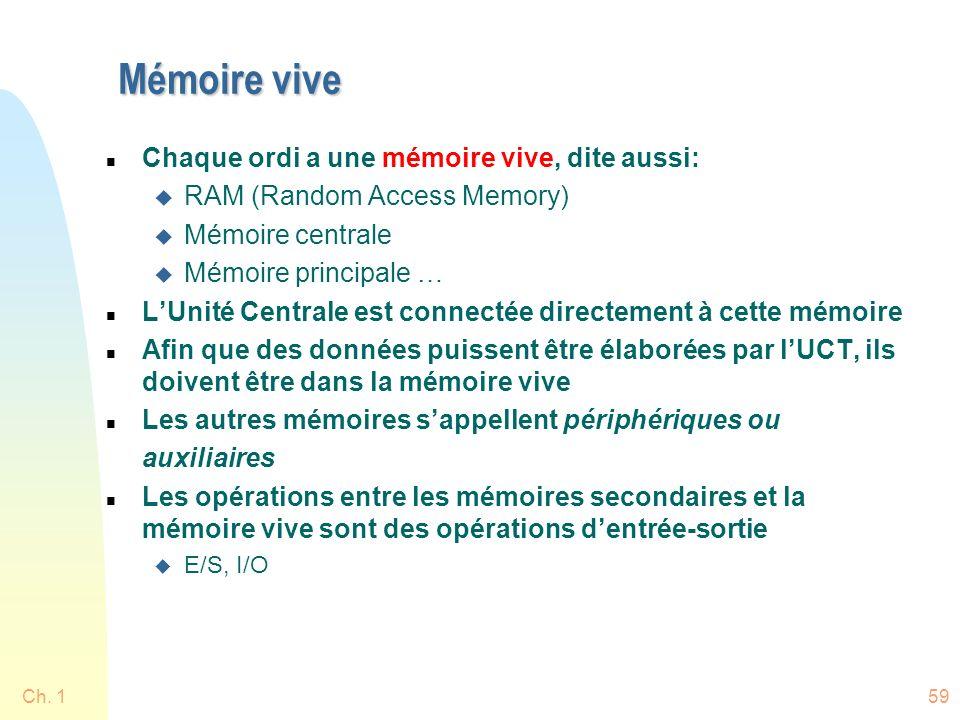 Mémoire vive n Chaque ordi a une mémoire vive, dite aussi: u RAM (Random Access Memory) u Mémoire centrale u Mémoire principale … n LUnité Centrale est connectée directement à cette mémoire n Afin que des données puissent être élaborées par lUCT, ils doivent être dans la mémoire vive n Les autres mémoires sappellent périphériques ou auxiliaires n Les opérations entre les mémoires secondaires et la mémoire vive sont des opérations dentrée-sortie u E/S, I/O Ch.