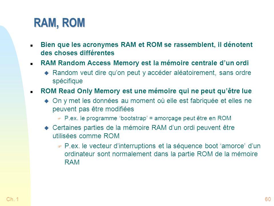 RAM, ROM n Bien que les acronymes RAM et ROM se rassemblent, il dénotent des choses différentes n RAM Random Access Memory est la mémoire centrale dun ordi u Random veut dire quon peut y accéder aléatoirement, sans ordre spécifique n ROM Read Only Memory est une mémoire qui ne peut quêtre lue u On y met les données au moment où elle est fabriquée et elles ne peuvent pas être modifiées F P.ex.