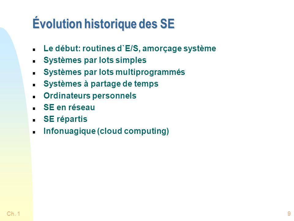 9 Évolution historique des SE n Le début: routines d`E/S, amorçage système n Systèmes par lots simples n Systèmes par lots multiprogrammés n Systèmes à partage de temps n Ordinateurs personnels n SE en réseau n SE répartis n Infonuagique (cloud computing)