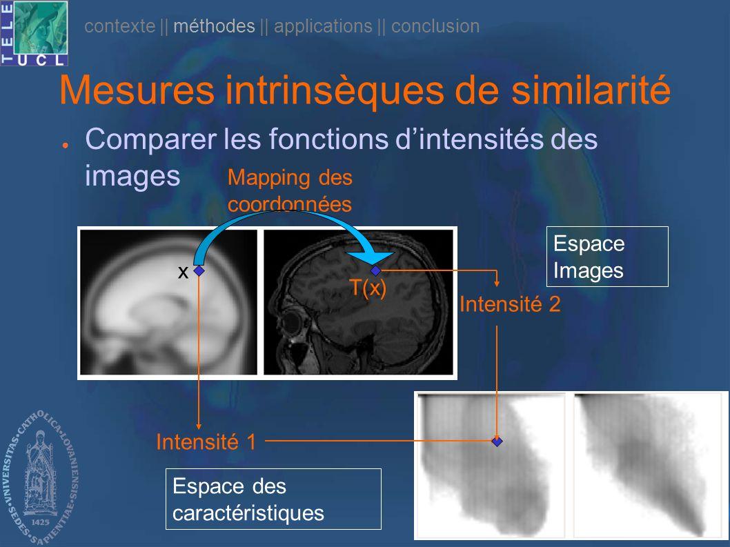 Défense publique – 24/10/05 Mesures intrinsèques de similarité Comparer les fonctions dintensités des images x T(x) Intensité 1 Intensité 2 Espace Ima