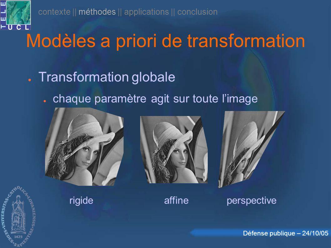 Défense publique – 24/10/05 Modèles a priori de transformation Transformation globale chaque paramètre agit sur toute limage rigideaffineperspective contexte    méthodes    applications    conclusion