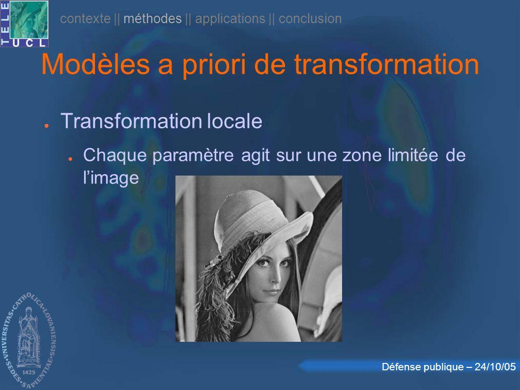 Défense publique – 24/10/05 Modèles a priori de transformation Transformation locale Chaque paramètre agit sur une zone limitée de limage contexte    méthodes    applications    conclusion