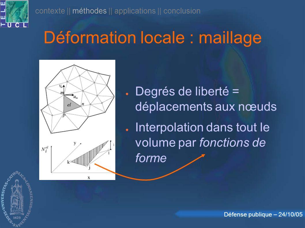 Défense publique – 24/10/05 Déformation locale : maillage Degrés de liberté = déplacements aux nœuds Interpolation dans tout le volume par fonctions de forme contexte    méthodes    applications    conclusion