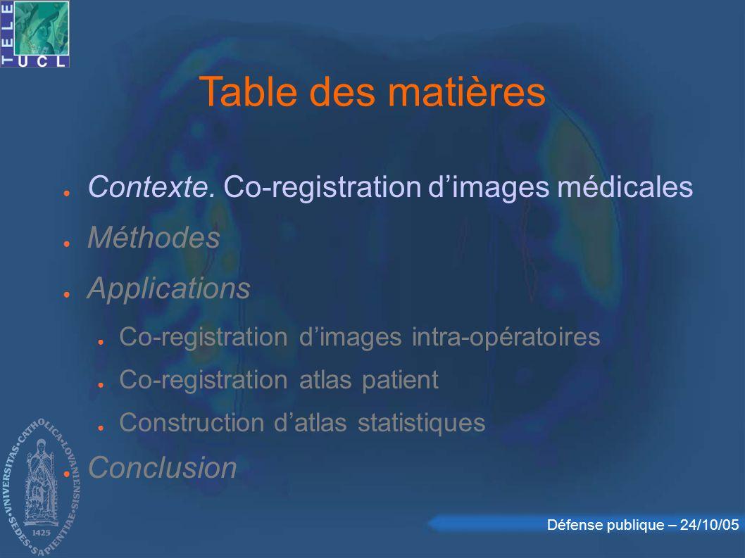 Défense publique – 24/10/05 Image médicale 3D 3 plans courants pour la visualisation contexte || méthodes || applications || conclusion