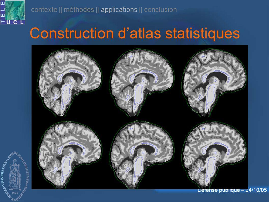 Défense publique – 24/10/05 contexte || méthodes || applications || conclusion Construction datlas statistiques