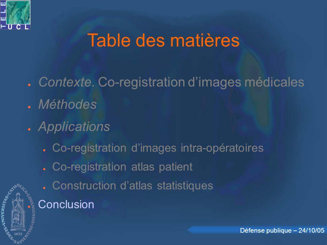 Défense publique – 24/10/05 Contexte. Co-registration dimages médicales Méthodes Applications Co-registration dimages intra-opératoires Co-registratio