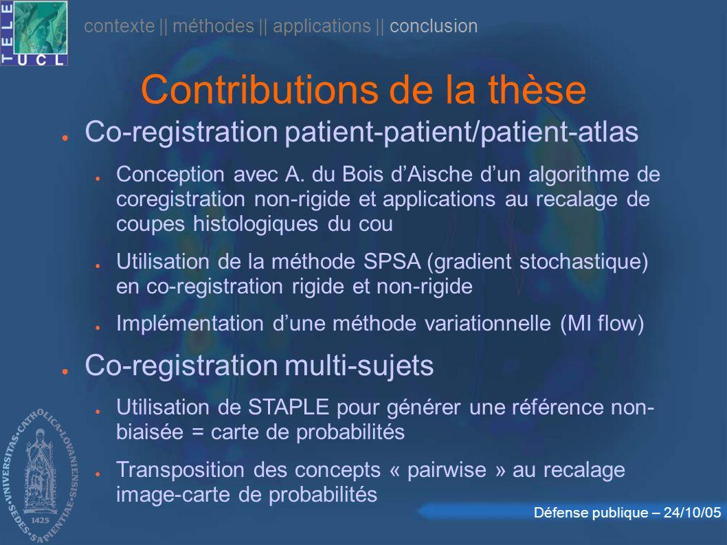 Défense publique – 24/10/05 Contributions de la thèse contexte    méthodes    applications    conclusion Co-registration patient-patient/patient-atlas Conception avec A.
