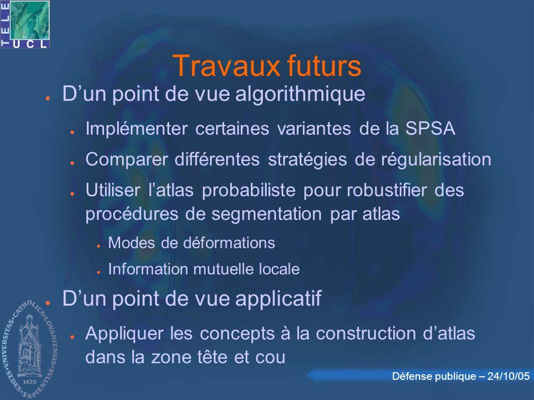 Défense publique – 24/10/05 Travaux futurs Dun point de vue algorithmique Implémenter certaines variantes de la SPSA Comparer différentes stratégies d