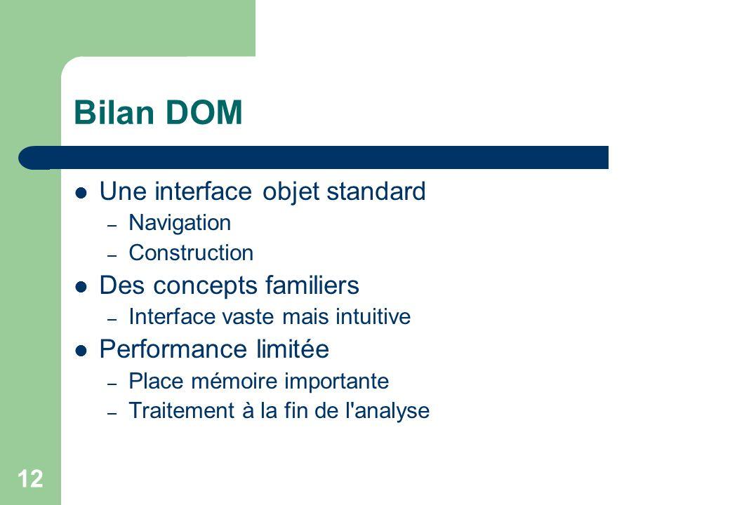 12 Bilan DOM Une interface objet standard – Navigation – Construction Des concepts familiers – Interface vaste mais intuitive Performance limitée – Place mémoire importante – Traitement à la fin de l analyse