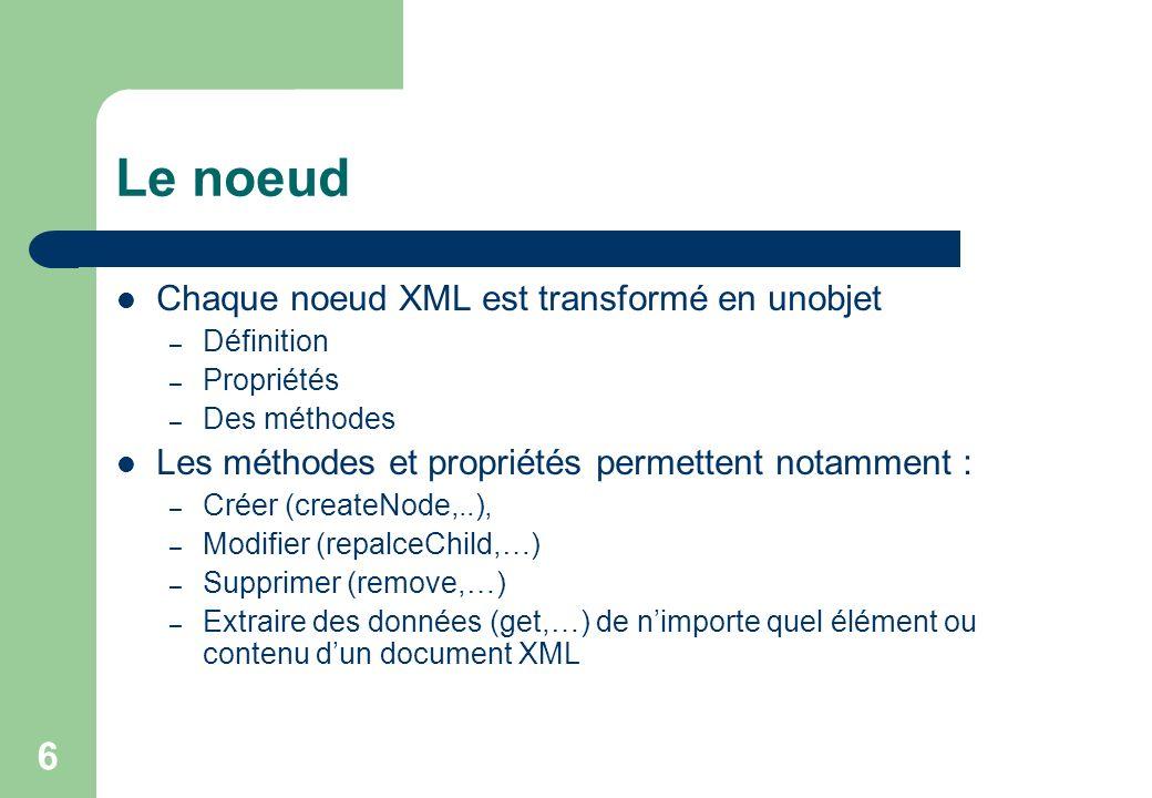 6 Le noeud Chaque noeud XML est transformé en unobjet – Définition – Propriétés – Des méthodes Les méthodes et propriétés permettent notamment : – Créer (createNode,..), – Modifier (repalceChild,…) – Supprimer (remove,…) – Extraire des données (get,…) de nimporte quel élément ou contenu dun document XML