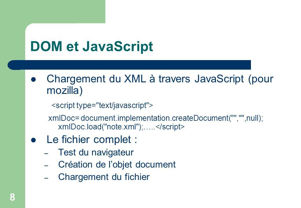 8 DOM et JavaScript Chargement du XML à travers JavaScript (pour mozilla) xmlDoc= document.implementation.createDocument( , ,null); xmlDoc.load( note.xml );…..