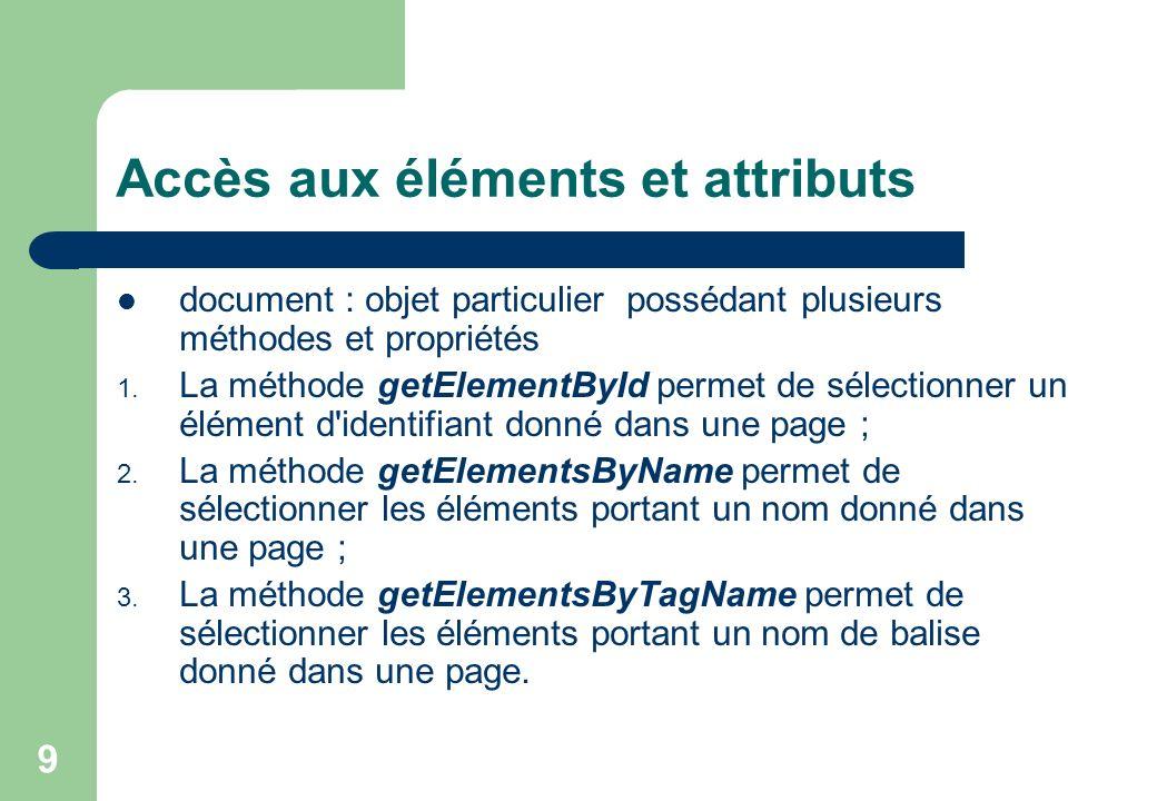 9 Accès aux éléments et attributs document : objet particulier possédant plusieurs méthodes et propriétés 1.