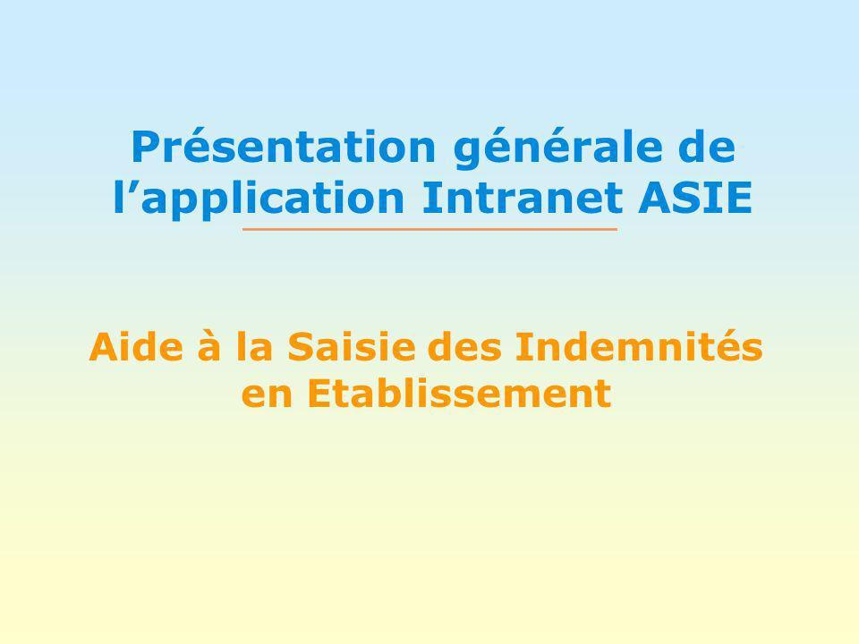 Présentation générale de lapplication Intranet ASIE Aide à la Saisie des Indemnités en Etablissement