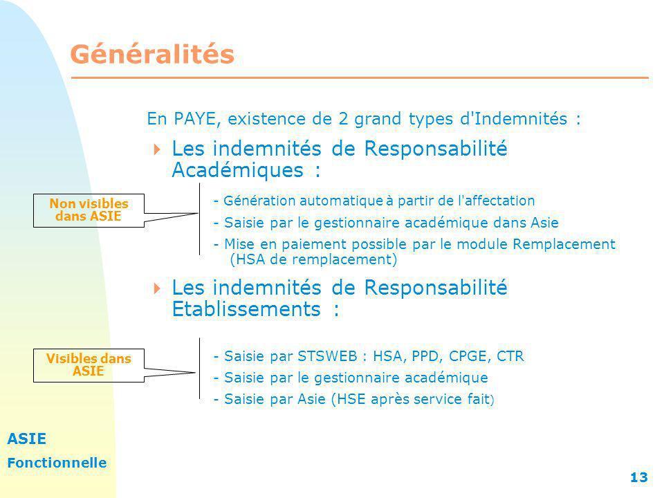 ASIE Fonctionnelle 13 Généralités En PAYE, existence de 2 grand types d'Indemnités : Les indemnités de Responsabilité Académiques : - Génération autom