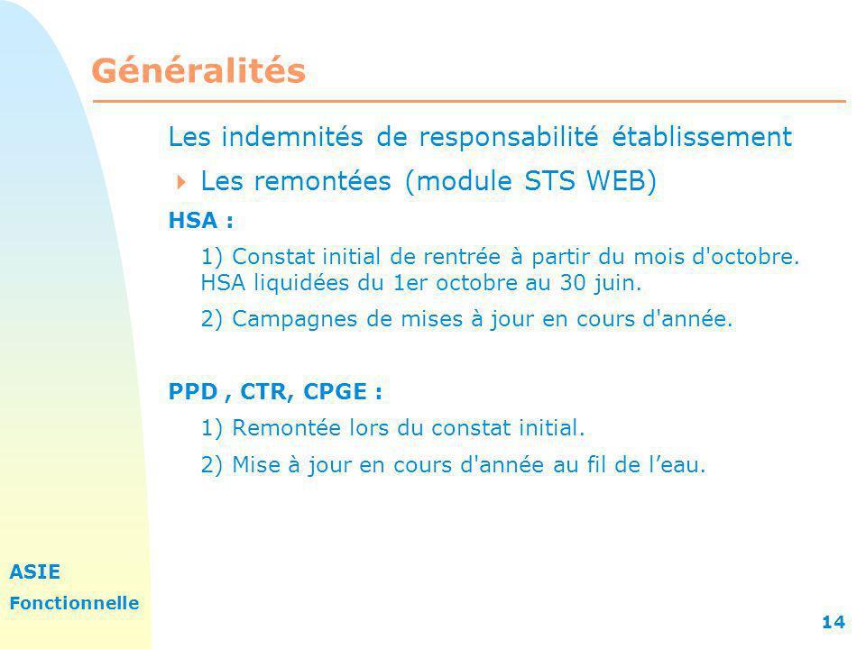 ASIE Fonctionnelle 14 Généralités Les indemnités de responsabilité établissement Les remontées (module STS WEB) HSA : 1) Constat initial de rentrée à