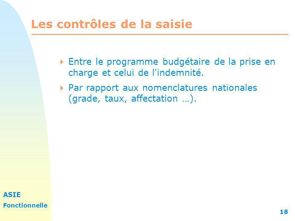 ASIE Fonctionnelle 18 Les contrôles de la saisie Entre le programme budgétaire de la prise en charge et celui de l'indemnité. Par rapport aux nomencla