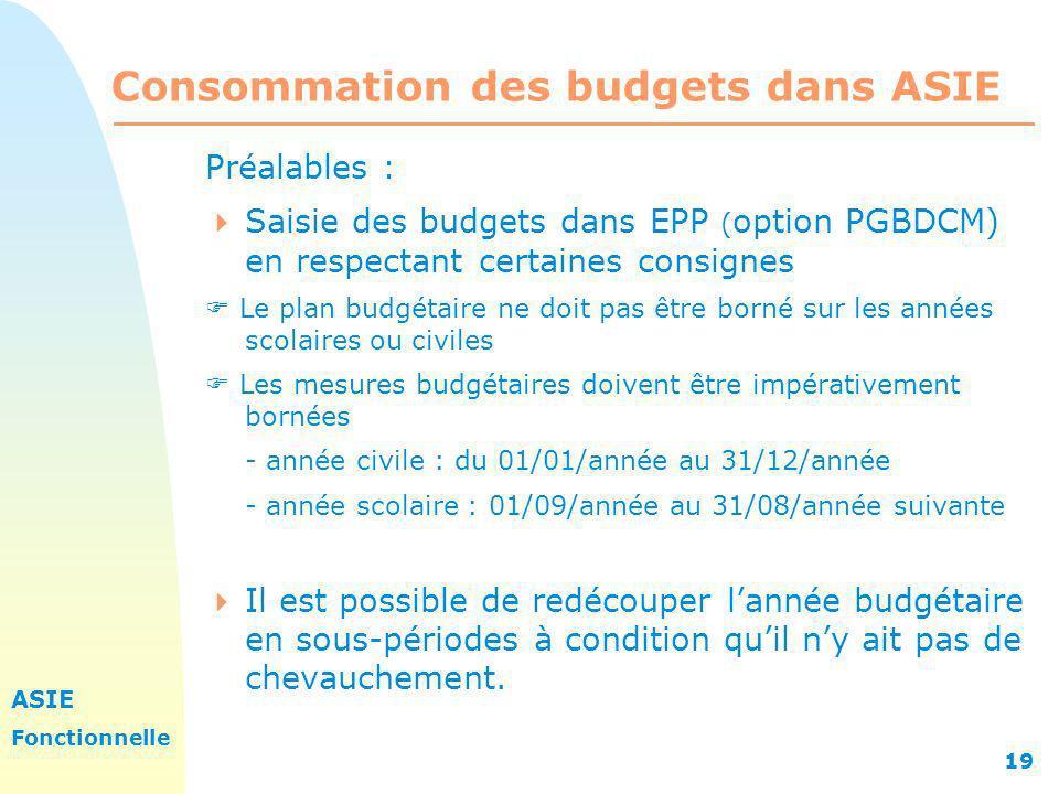ASIE Fonctionnelle 19 Consommation des budgets dans ASIE Préalables : Saisie des budgets dans EPP ( option PGBDCM) en respectant certaines consignes L