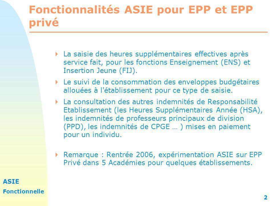 ASIE Fonctionnelle 2 Fonctionnalités ASIE pour EPP et EPP privé La saisie des heures supplémentaires effectives après service fait, pour les fonctions