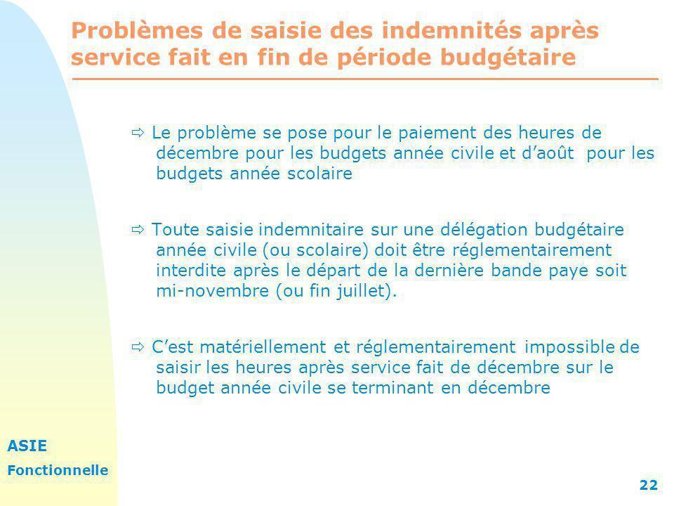 ASIE Fonctionnelle 22 Problèmes de saisie des indemnités après service fait en fin de période budgétaire Le problème se pose pour le paiement des heur