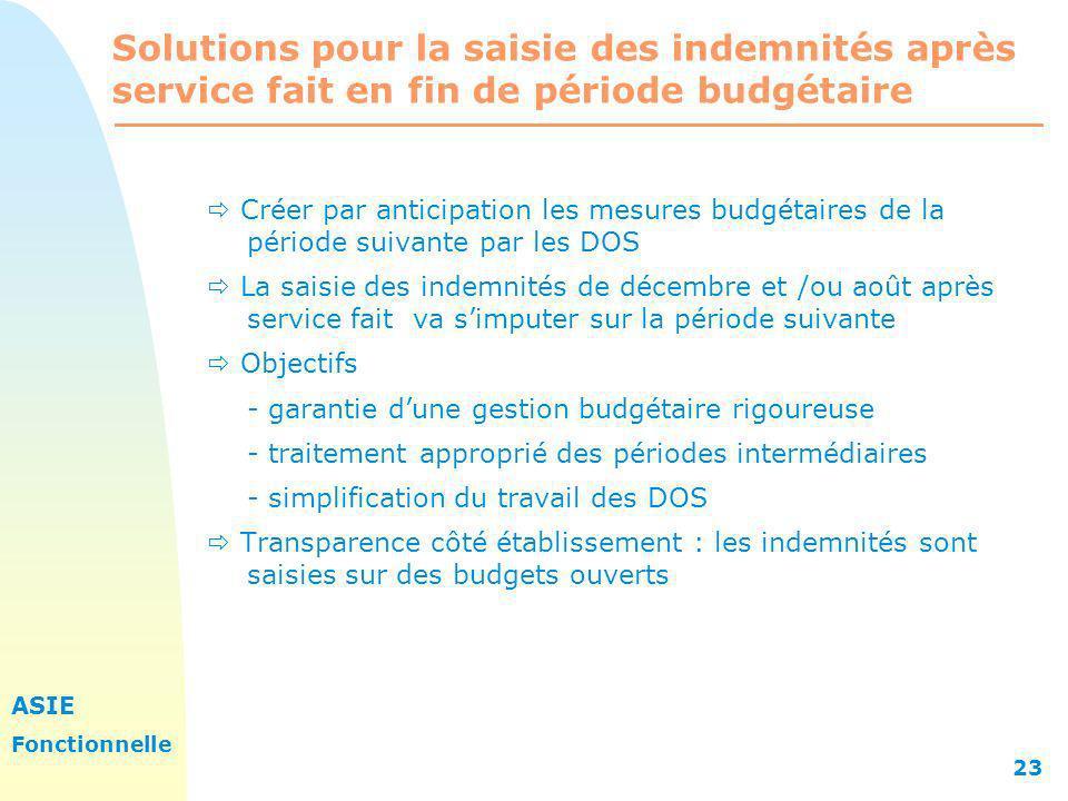 ASIE Fonctionnelle 23 Solutions pour la saisie des indemnités après service fait en fin de période budgétaire Créer par anticipation les mesures budgé