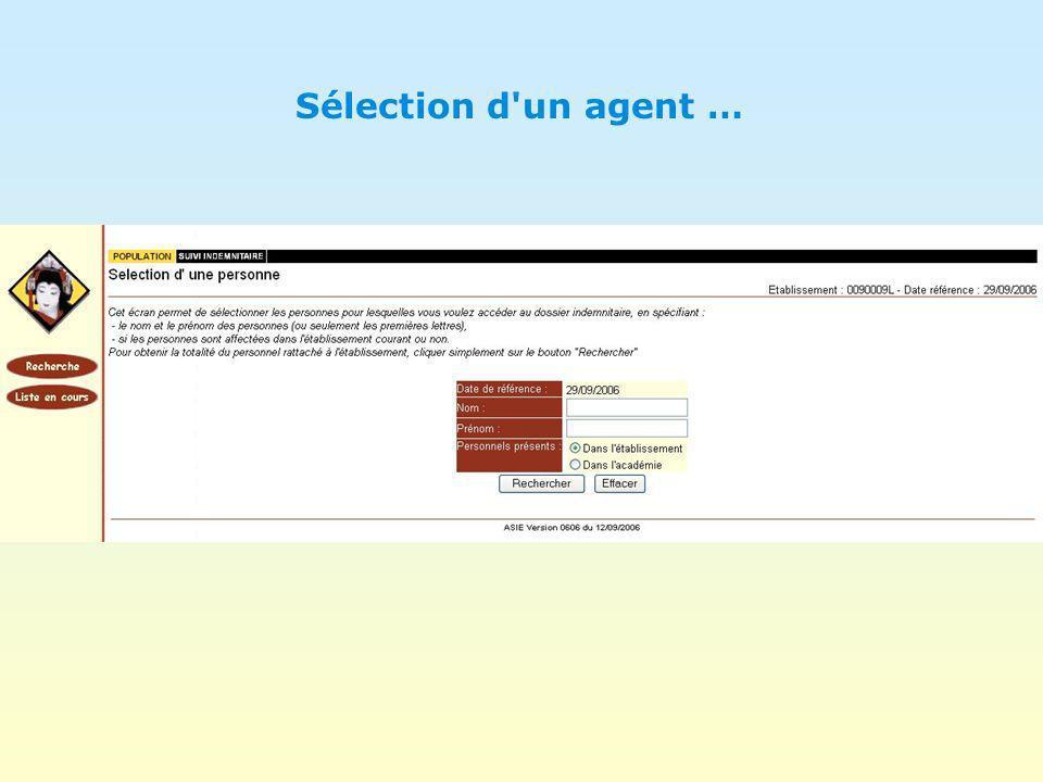 Sélection d'un agent …
