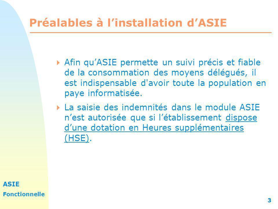 ASIE Fonctionnelle 3 Préalables à linstallation dASIE Afin quASIE permette un suivi précis et fiable de la consommation des moyens délégués, il est in
