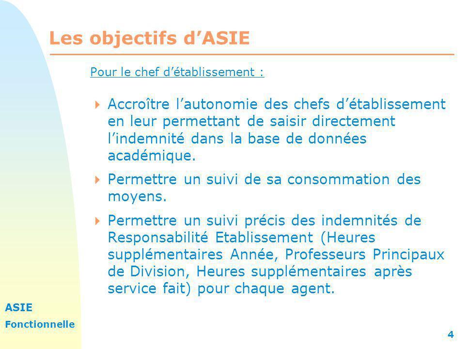 ASIE Fonctionnelle 4 Les objectifs dASIE Pour le chef détablissement : Accroître lautonomie des chefs détablissement en leur permettant de saisir dire