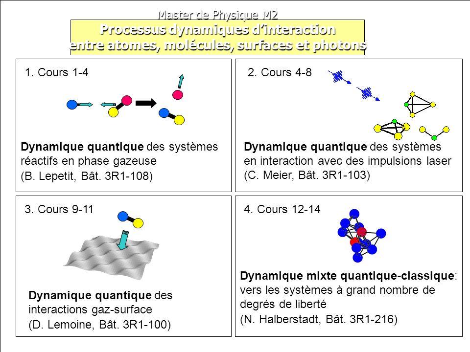 Master de Physique M2 Processus dynamiques dinteraction entre atomes, molécules, surfaces et photons Dynamique quantique des systèmes réactifs en phas
