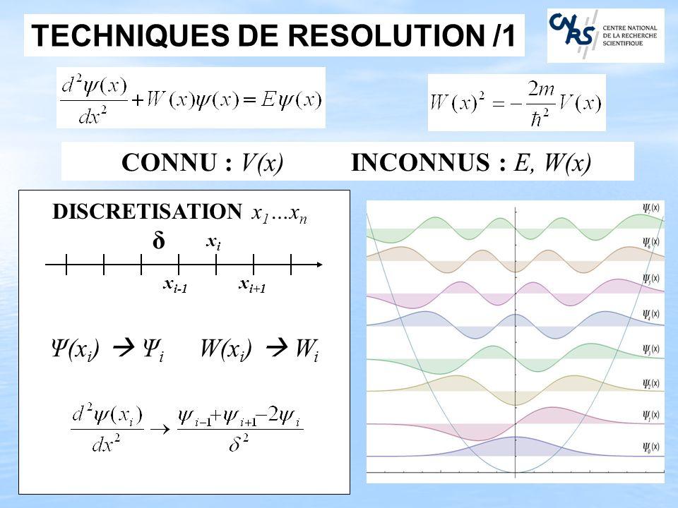 TECHNIQUES DE RESOLUTION /1 Ψ(x i ) Ψ i W(x i ) W i x i-1 xixi x i+1 DISCRETISATION x 1 …x n δ CONNU : V(x) INCONNUS : E, W(x)