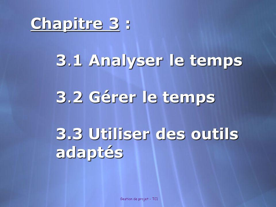 Gestion de projet - TC1 Chapitre 3 : 3.1 Analyser le temps 3.2 Gérer le temps 3.3 Utiliser des outils adaptés