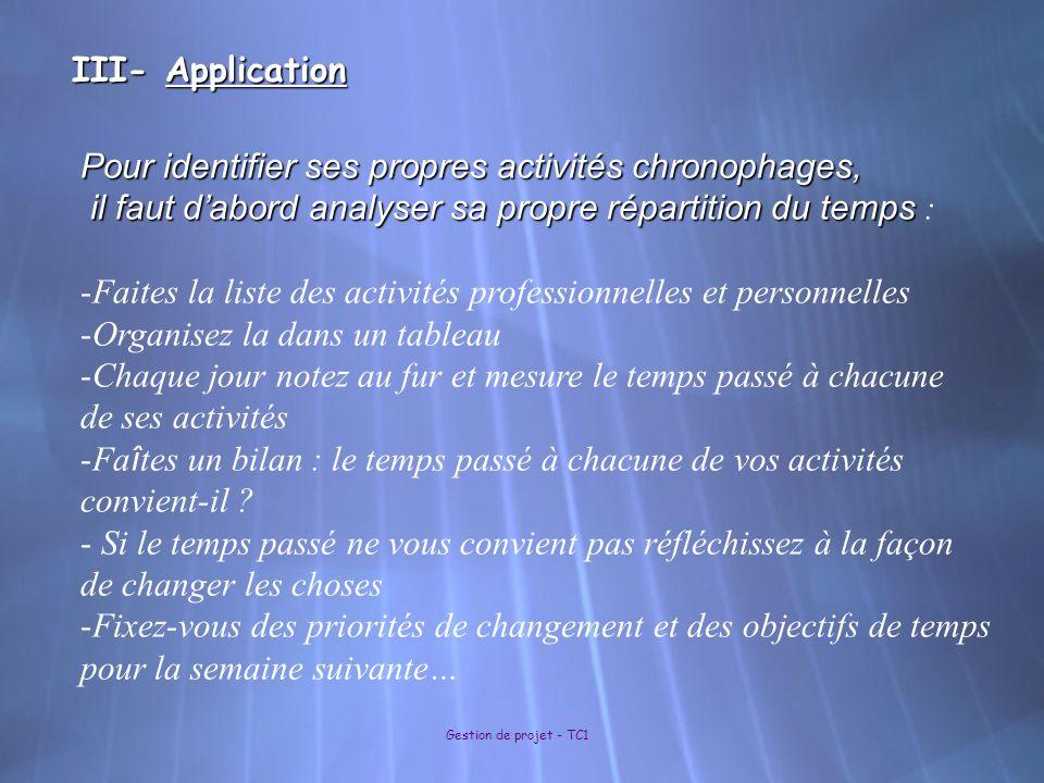 III- Application Gestion de projet - TC1 Pour identifier ses propres activités chronophages, il faut dabord analyser sa propre répartition du temps il