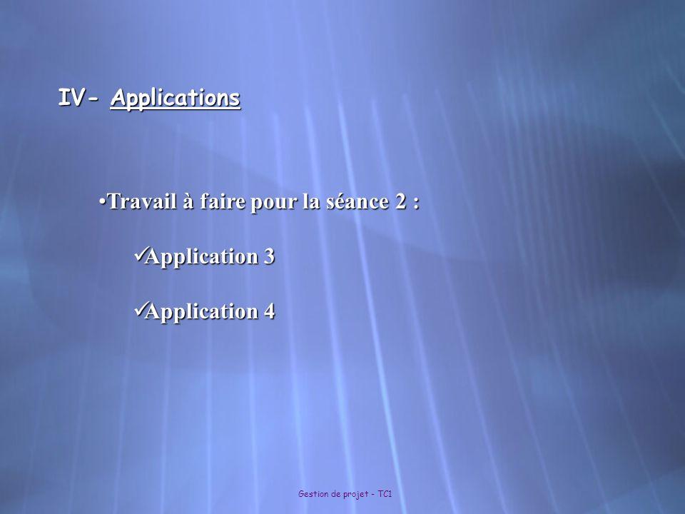 Gestion de projet - TC1 IV- Applications Travail à faire pour la séance 2 :Travail à faire pour la séance 2 : Application 3 Application 3 Application