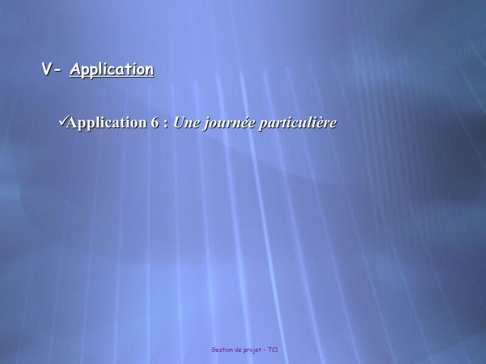 Gestion de projet - TC1 V- Application Application 6 : Une journée particulière Application 6 : Une journée particulière