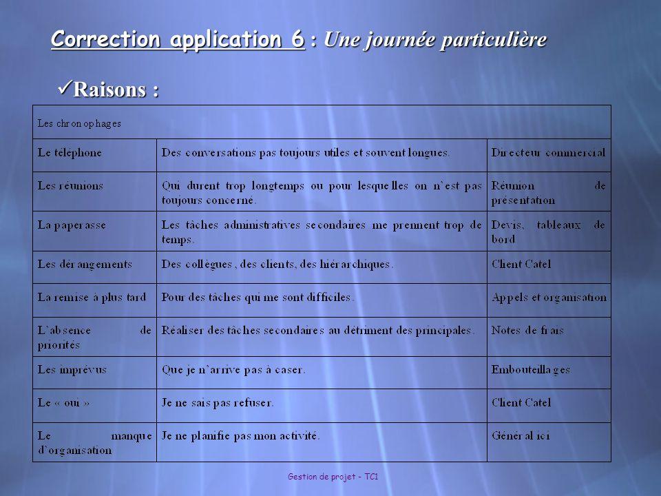 Gestion de projet - TC1 Correction application 6 : Une journée particulière Raisons : Raisons :